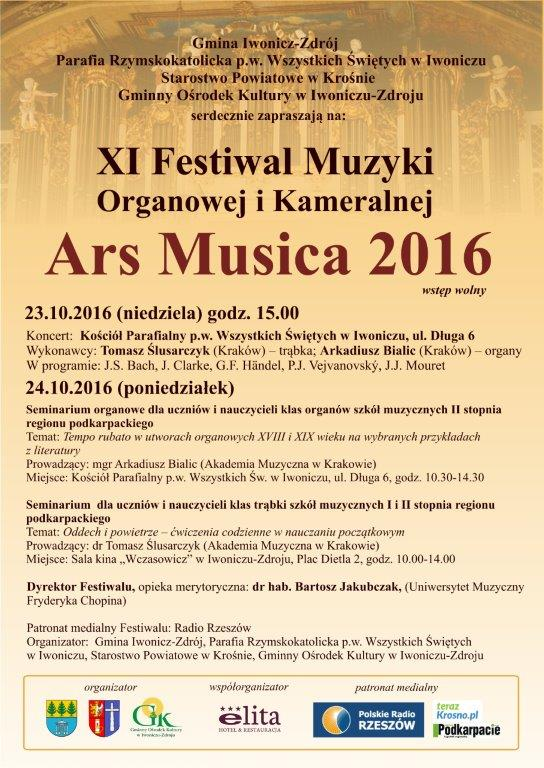 XI Festiwal Muzyki Organowej i Kameralnej ARS MUSICA
