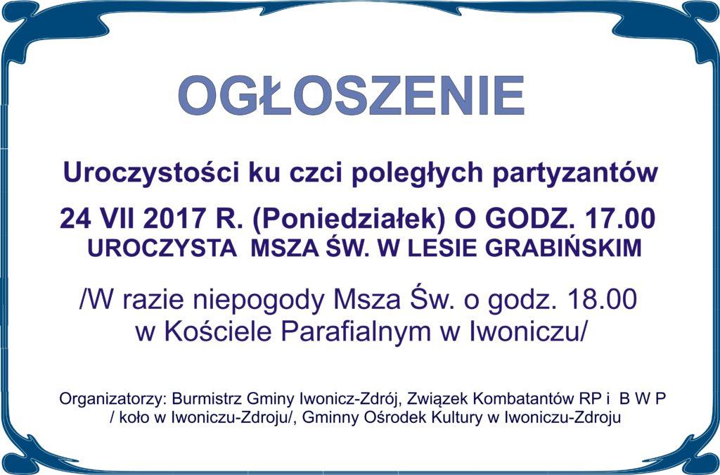Uroczystości ku czci poległych partyzantów w Lesie Grabińskim