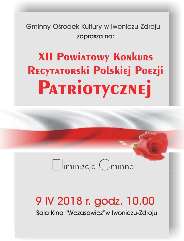 XII Powiatowy Konkurs Recytatorski Polskiej Poezji Patriotycznej