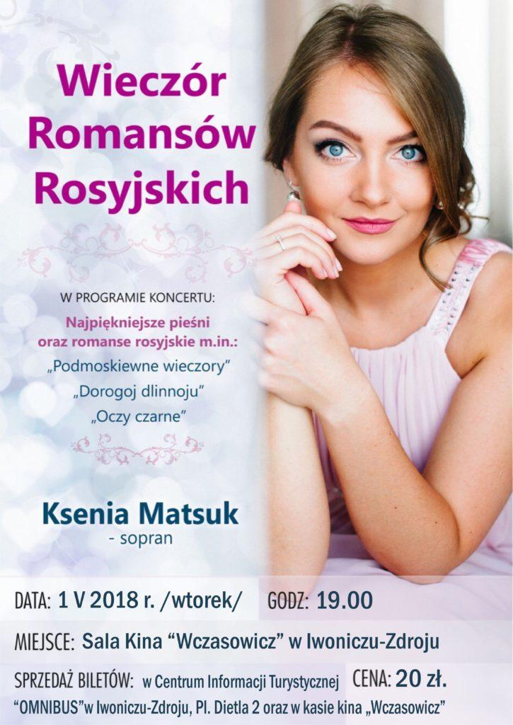 Wieczór romansów rosyjskich koncert Kseni Matsuk