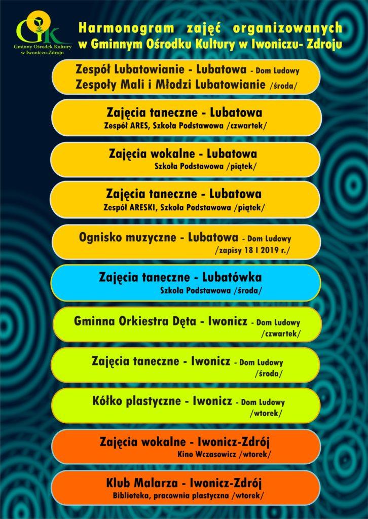 Harmonogram zajęć organizowanych przez Gminny Ośrodek Kultury w Iwoniczu-Zdroju